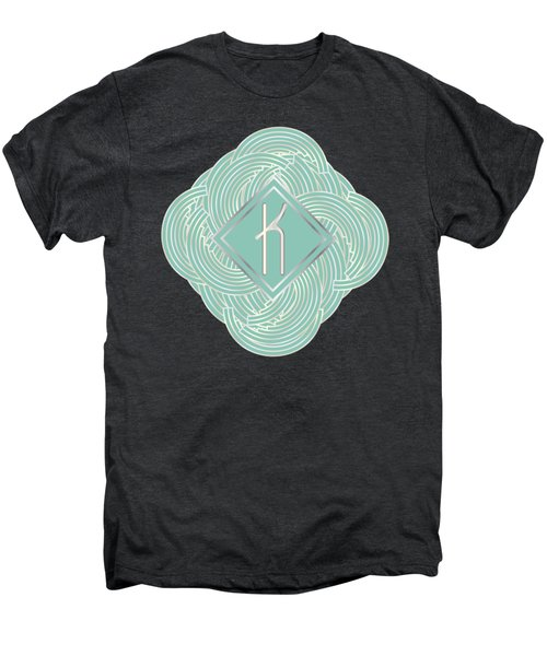 1920s Blue Deco Jazz Swing Monogram ...letter K Men's Premium T-Shirt