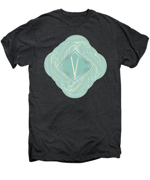 1920s Blue Deco Jazz Swing Monogram ...letter V Men's Premium T-Shirt by Cecely Bloom