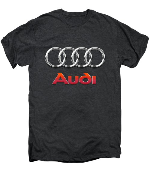 Audi 3 D Badge On Black Men's Premium T-Shirt by Serge Averbukh