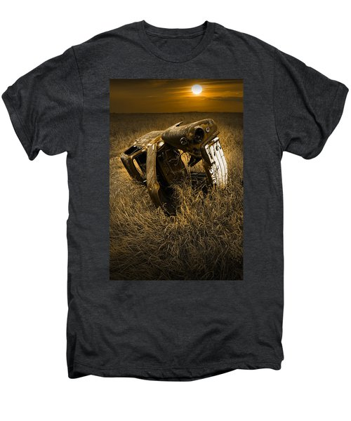Auto Wreck In A Grassy Field On The Prairie At Sunset Men's Premium T-Shirt