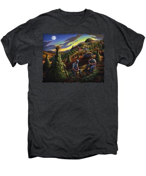 Autumn Farmers Shucking Corn Appalachian Rural Farm Country Harvesting Landscape - Harvest Folk Art Men's Premium T-Shirt