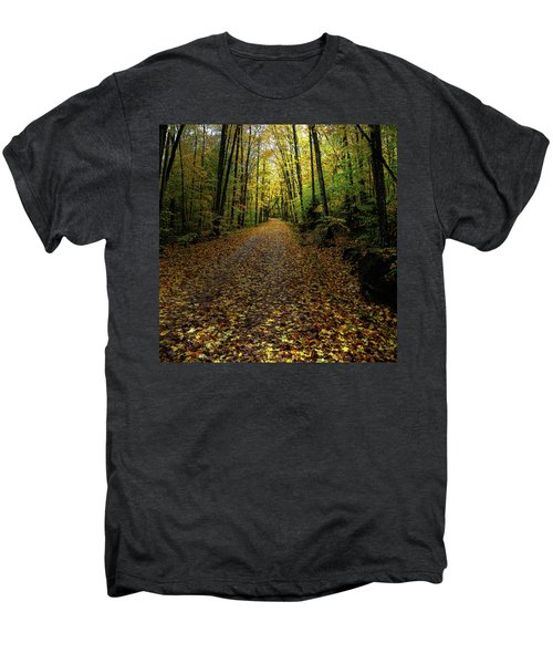 Men's Premium T-Shirt featuring the photograph Autumn Leaves On The Trail by David Patterson