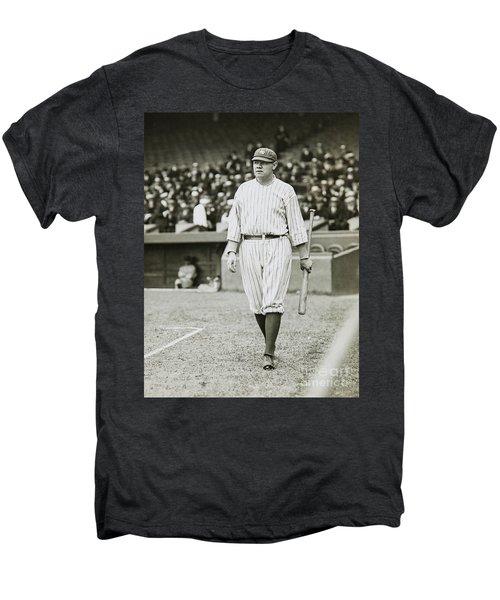 Babe Ruth Going To Bat Men's Premium T-Shirt by Jon Neidert
