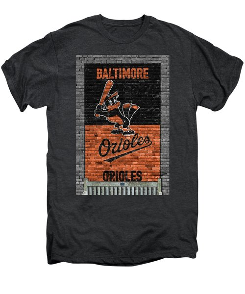 Baltimore Orioles Brick Wall Men's Premium T-Shirt by Joe Hamilton