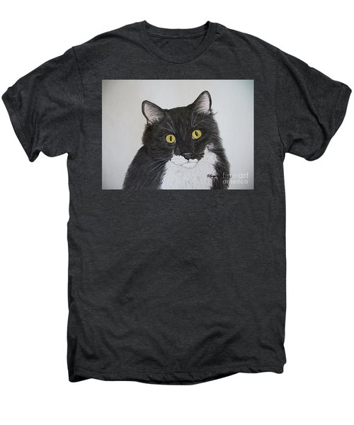 Black And White Cat Men's Premium T-Shirt by Megan Cohen