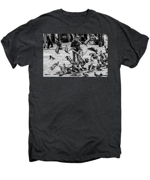 Black And White Of Boy Feeding Pigeons In Sarajevo, Bosnia And Herzegovina  Men's Premium T-Shirt