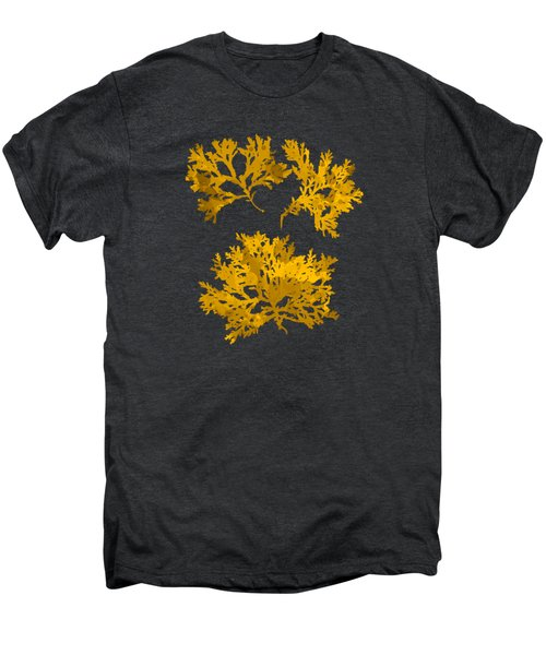 Men's Premium T-Shirt featuring the mixed media Black Gold Leaf Pattern by Christina Rollo