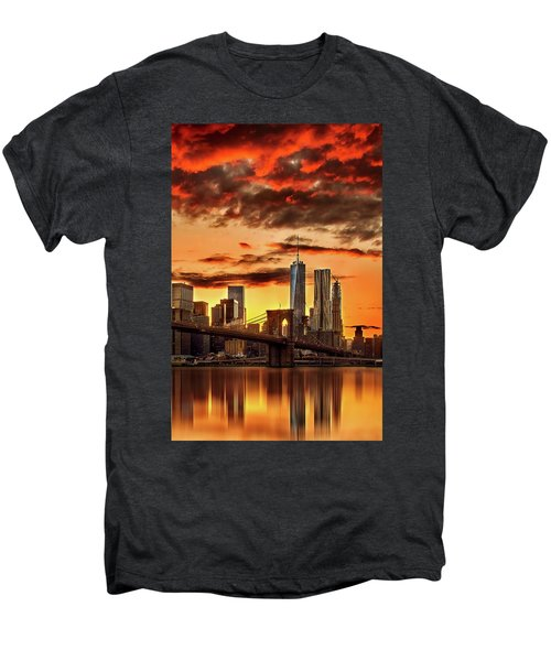 Blazing Manhattan Skyline Men's Premium T-Shirt by Az Jackson