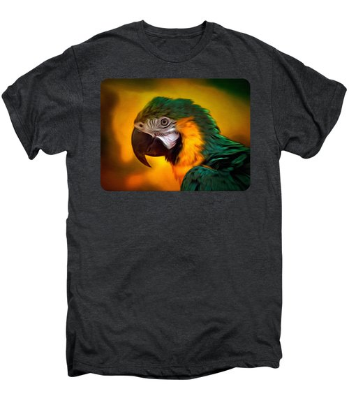 Blue Macaw Parrot Portrait Men's Premium T-Shirt by Linda Koelbel