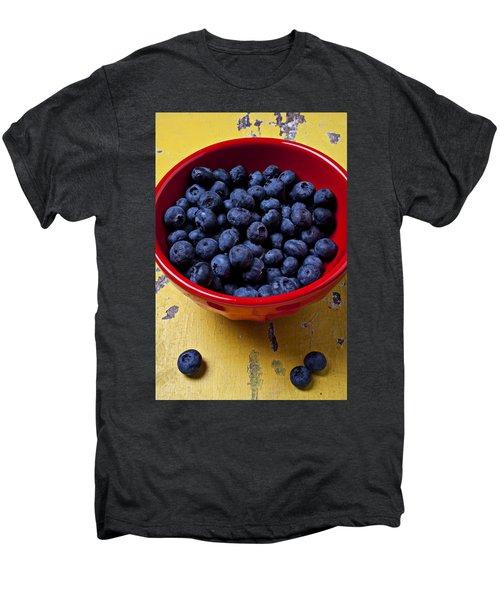 Blueberries In Red Bowl Men's Premium T-Shirt
