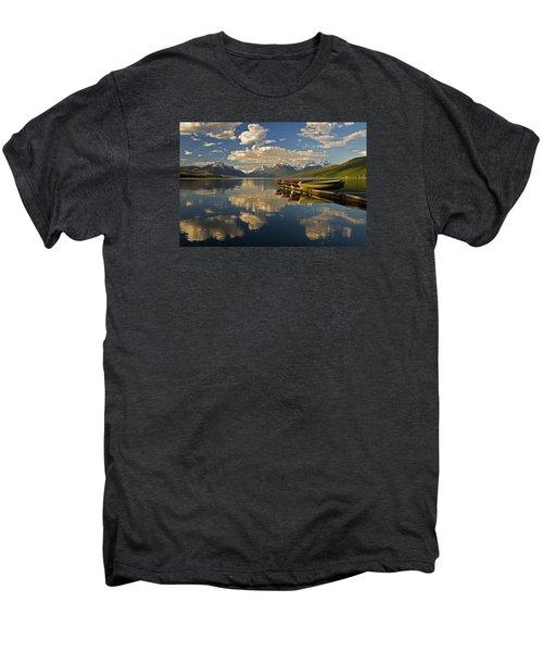 Men's Premium T-Shirt featuring the photograph Boats At Lake Mcdonald by Gary Lengyel
