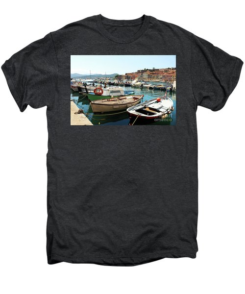 Men's Premium T-Shirt featuring the photograph Boats In The Harbour by MGL Meiklejohn Graphics Licensing