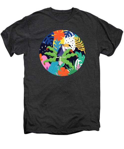 Bold Tropical Jungle Abstraction With Toucan Memphis Style Men's Premium T-Shirt