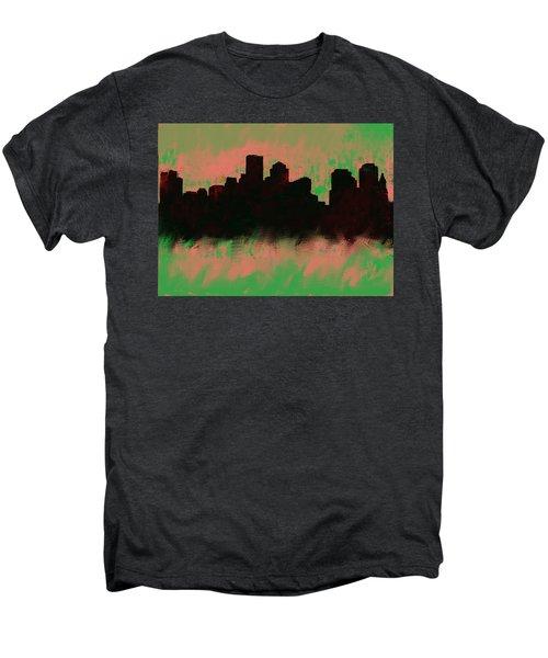 Boston Skyline Green  Men's Premium T-Shirt by Enki Art