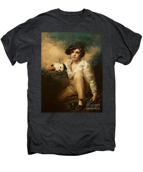 Boy And Rabbit Men's Premium T-Shirt by Sir Henry Raeburn