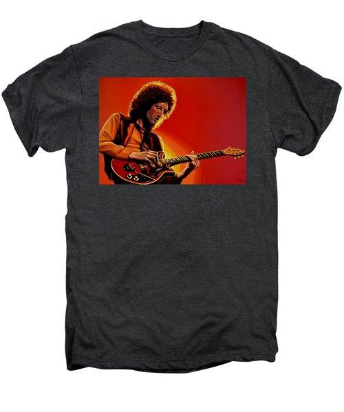 Brian May Of Queen Painting Men's Premium T-Shirt by Paul Meijering