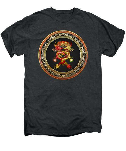 Brotherhood Of The Snake - The Red And The Yellow Dragons On Black Velvet Men's Premium T-Shirt by Serge Averbukh
