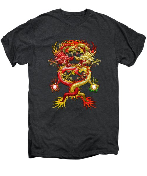 Brotherhood Of The Snake - The Red And The Yellow Dragons On Red And Black Leather Men's Premium T-Shirt by Serge Averbukh