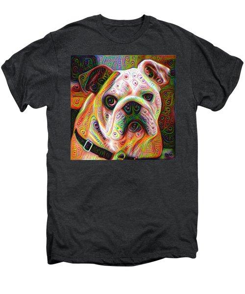 Bulldog Surreal Deep Dream Image Men's Premium T-Shirt by Matthias Hauser