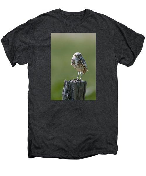 Men's Premium T-Shirt featuring the photograph Burrowing Owl by Gary Lengyel