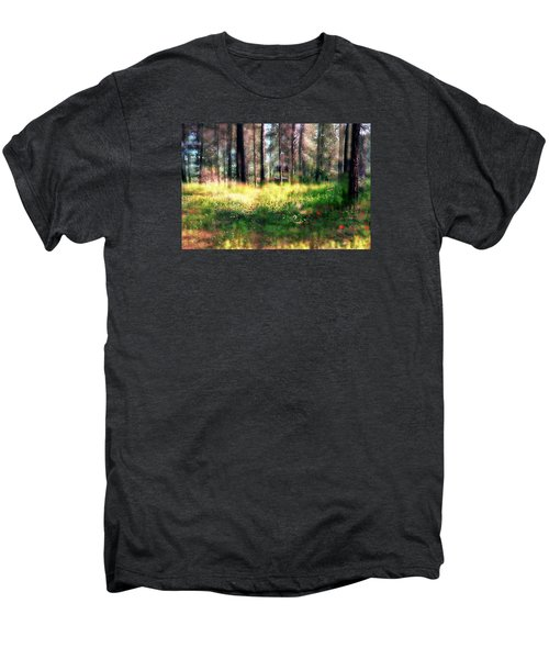 Cabin In The Woods In Menashe Forest Men's Premium T-Shirt by Dubi Roman