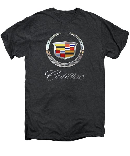 Cadillac - 3d Badge On Black Men's Premium T-Shirt by Serge Averbukh