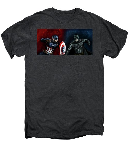 Captain America Vs Batman Men's Premium T-Shirt by Vinny John Usuriello