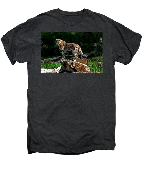 Cheetah Cub Finds Her Pride Rock Men's Premium T-Shirt by Miroslava Jurcik