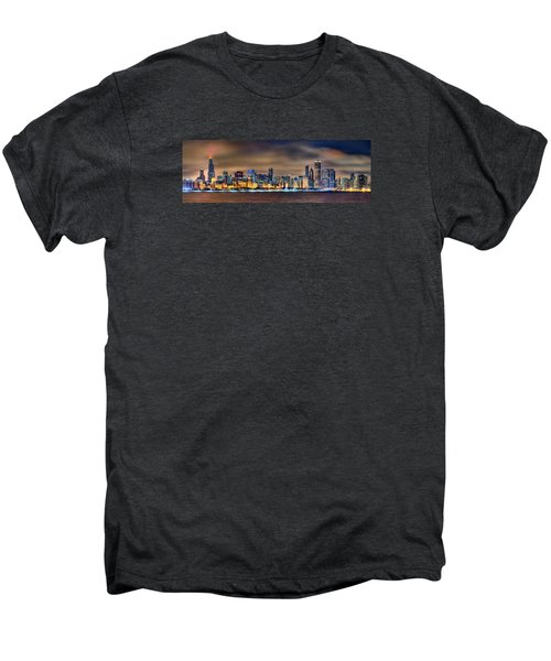 Chicago Skyline At Night Panorama Color 1 To 3 Ratio Men's Premium T-Shirt by Jon Holiday