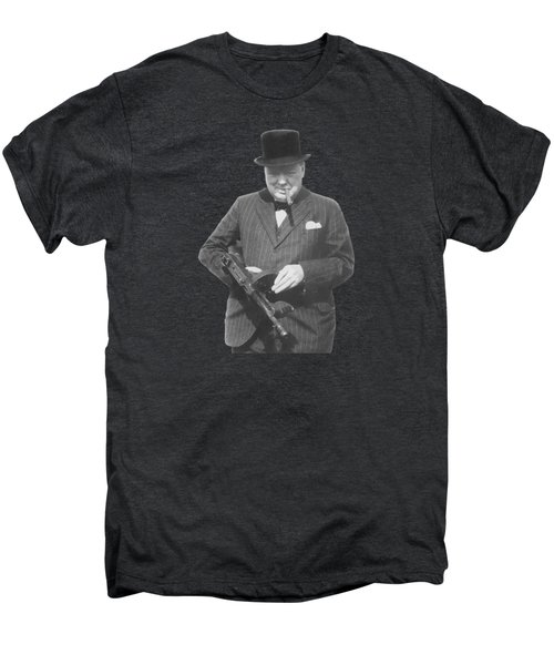 Churchill Posing With A Tommy Gun Men's Premium T-Shirt