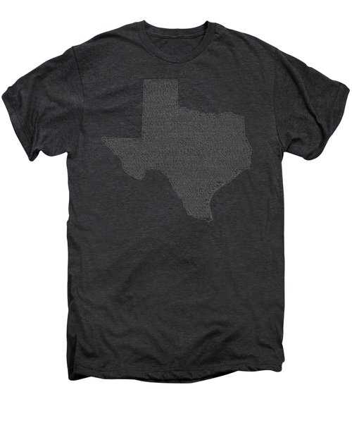 Cities And Towns In Texas White Men's Premium T-Shirt by Custom Home Fashions
