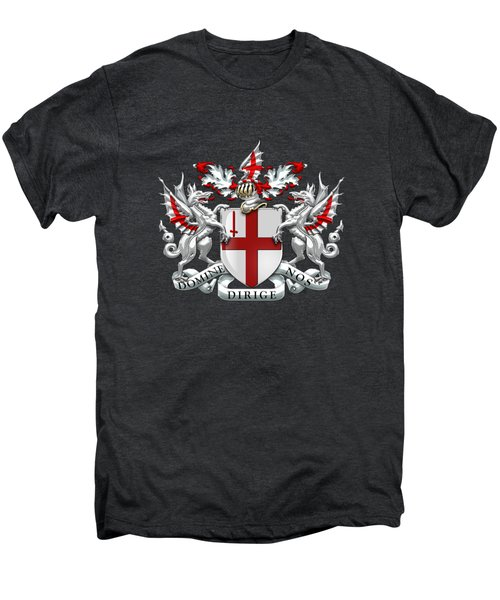 City Of London - Coat Of Arms Over Blue Leather  Men's Premium T-Shirt