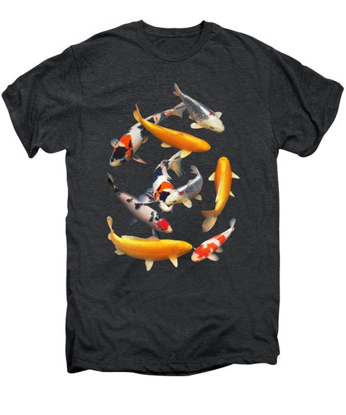 Colorful Japanese Koi Vertical Men's Premium T-Shirt by Gill Billington