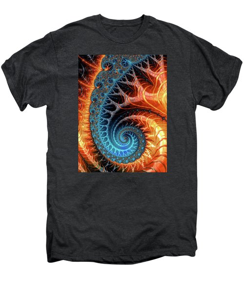 Colorful Luxe Fractal Spiral Turquoise Brown Orange Men's Premium T-Shirt
