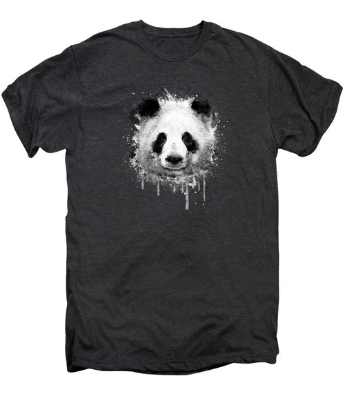 Cool Abstract Graffiti Watercolor Panda Portrait In Black And White  Men's Premium T-Shirt