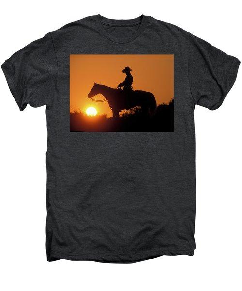 Cowboy Sunset Silhouette Men's Premium T-Shirt