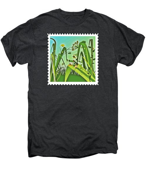 Cute Frog Camouflaged In The Garden Jungle Men's Premium T-Shirt