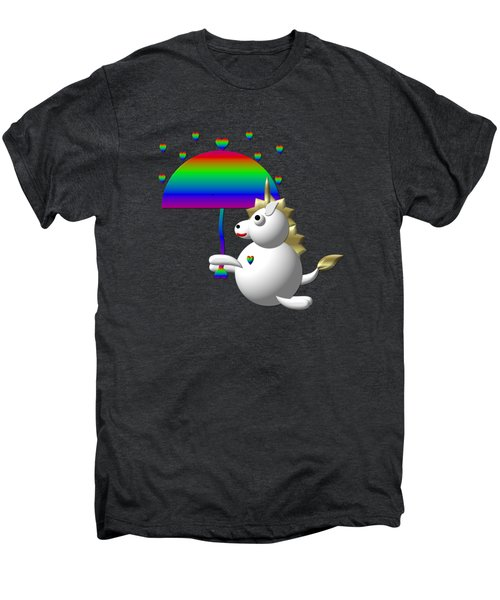 Cute Unicorn With An Umbrella Men's Premium T-Shirt