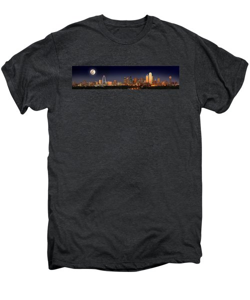 Dallas Skyline At Dusk Big Moon Night  Men's Premium T-Shirt by Jon Holiday