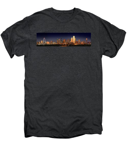 Dallas Skyline At Dusk  Men's Premium T-Shirt by Jon Holiday