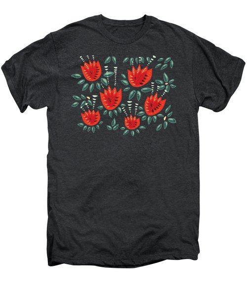 Dark Floral Pattern Of Abstract Red Tulips Men's Premium T-Shirt