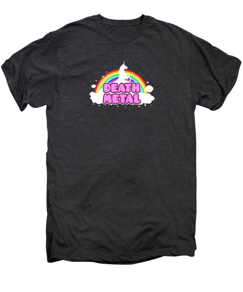 Death Metal Funny Unicorn  Rainbow Mosh Parody Design Men's Premium T-Shirt by Philipp Rietz