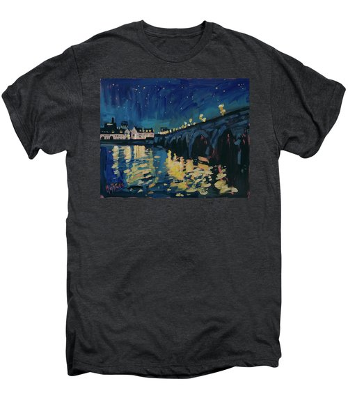 December Lights At The Old Bridge Men's Premium T-Shirt