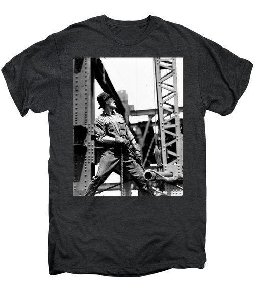 Derrick Man   Empire State Building Men's Premium T-Shirt by LW Hine