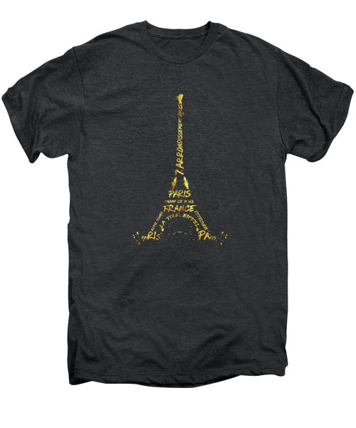 Digital-art Eiffel Tower - Black And Golden Men's Premium T-Shirt
