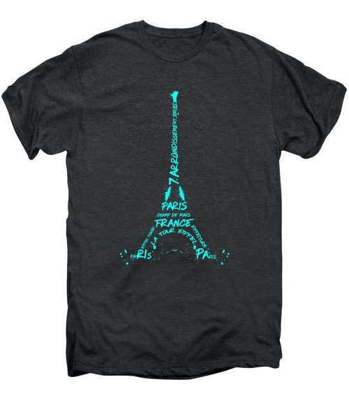 Digital-art Eiffel Tower Cyan Men's Premium T-Shirt