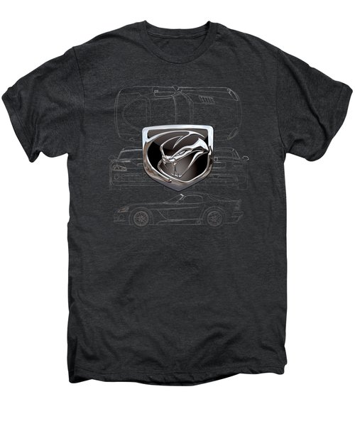 Dodge Viper  3 D  Badge Over Dodge Viper S R T 10 Silver Blueprint On Black Special Edition Men's Premium T-Shirt