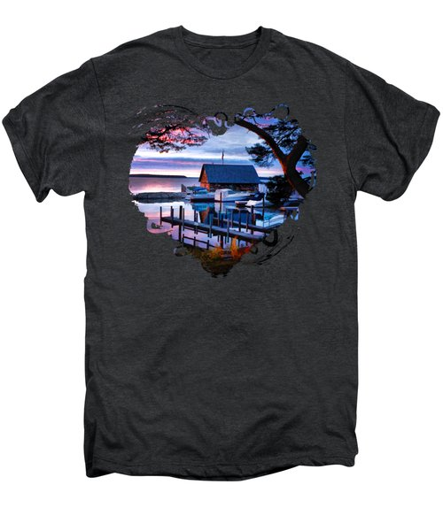 Men's Premium T-Shirt featuring the painting Door County Anderson Dock Sunset by Christopher Arndt
