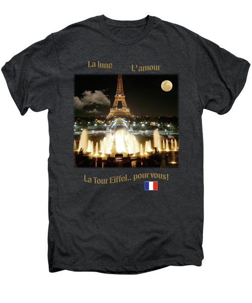 Eiffel Tower At Night Men's Premium T-Shirt by Jon Delorme