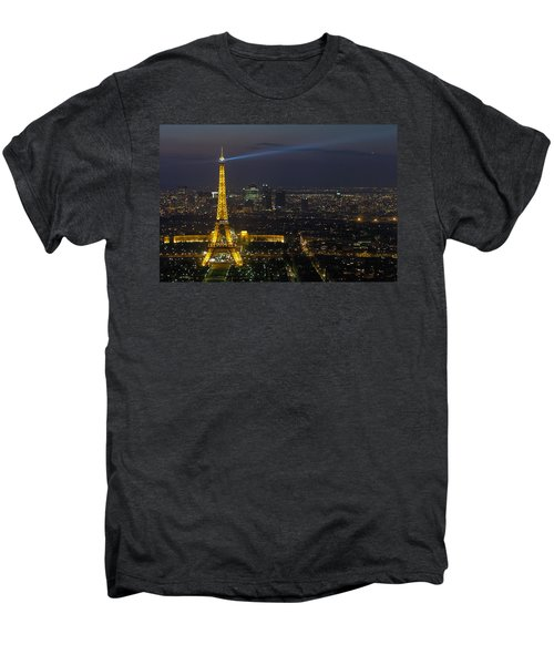 Eiffel Tower At Night Men's Premium T-Shirt by Sebastian Musial